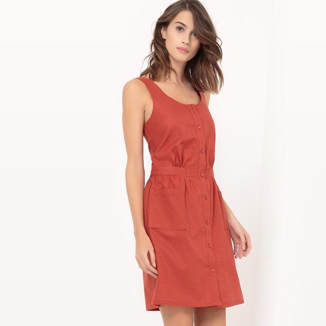 Платье-сарафан из хлопка и льна | La Redoute
